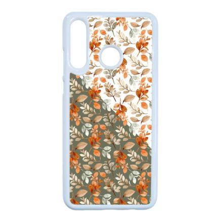 Gyönyörű őszi minta virágos Huawei fehér tok