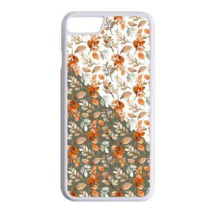 Gyönyörű őszi minta virágos iPhone fehér tok